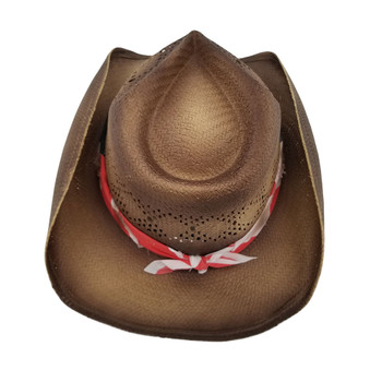 Barack unisex cowboy hat with stars and stripes bandana backside.