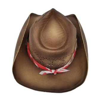 Barack unisex cowboy hat with stars and stripes bandana backside.