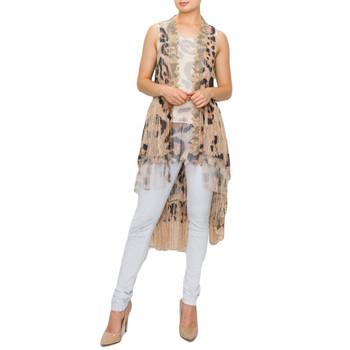 Women's lace leopard print vest.