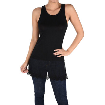 Black tank top with lace layer trim.