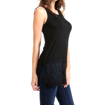 Black tank top with lace layer trim side view.