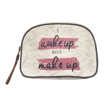 Wake Up and Make Up Canvas Cosmetic Bag