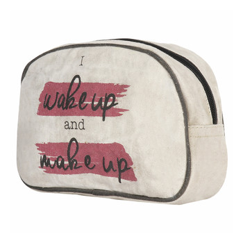 Wake Up and Make Up Canvas Cosmetic Bag side view