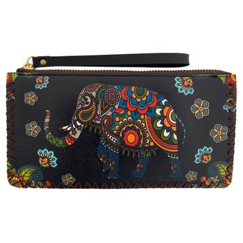 Bohemian Elephant Wristlet Wallet