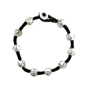 Cross design on alloy ball beads on waxed linen bracelet.