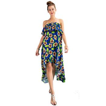 Tropical Flower Print Hi Low Maxi Dress