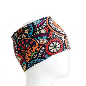 Colorful circles and flowers headband bandana.