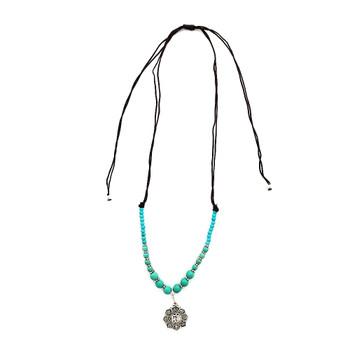 Mandala alloy and turquoise Howlite beaded necklace.