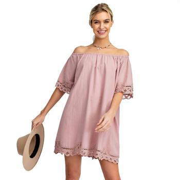 Femme Off The Shoulder Crochet Trim Mini Dress