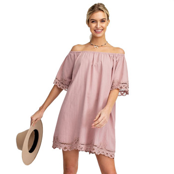 Femme Off The Shoulder Crochet Trim Mini Dress
