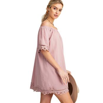 Femme Off The Shoulder Crochet Trim Mini Dress side view