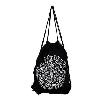 Drawstring backpack with white mandala.