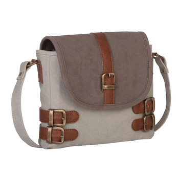 Mona B. Buckled Up Crossbody Canvas Purse front view