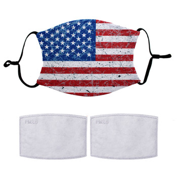 American Flag stars and stripes, red, white and blue design adjustable mask with 2 filters.