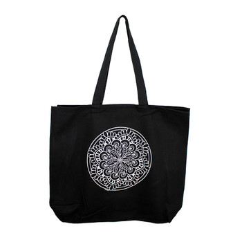 Mandala on a large black canvas tote.
