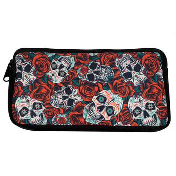 Sugar Skulls and Red Roses Zippered Pouch