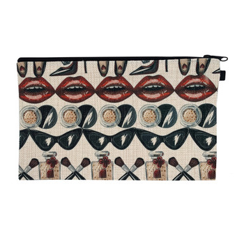 Glam Squad Linen Zippered Pouch back view