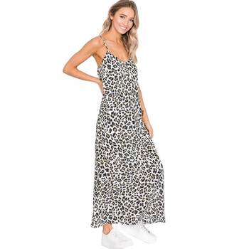 Olive leopard print maxi dress with spaghetti straps.