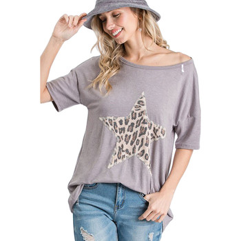 Women's t-shirt with leopard star on front.
