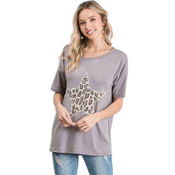 T-shirt with leopard star on front.