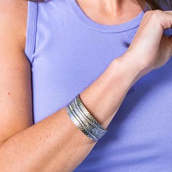 Kashi Thick Stripes Embossed Bracelet model view