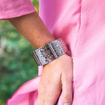 Kashi Hammered Embossed Bracelet Cuff model view