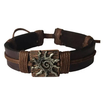 Sun Pewter Adjustable Leather Bracelet