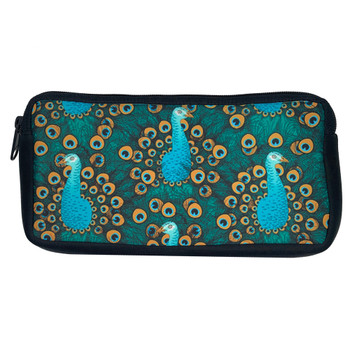 Turquoise Blue Peacock Zippered Pouch