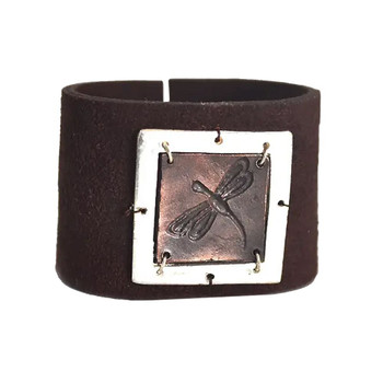Dragonfly Brown Suede Leather Cuff