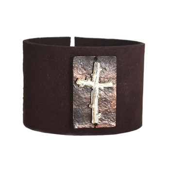 Cross Brown Suede Leather Cuff