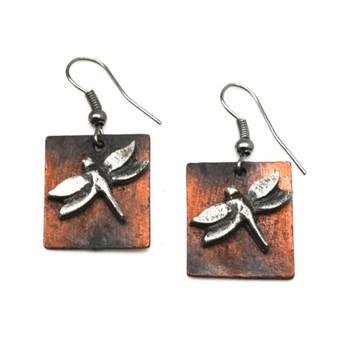 Dragonfly Dangle Pewter Earrings