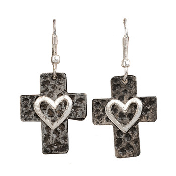 Cross and Heart Dangle Hook Earrings