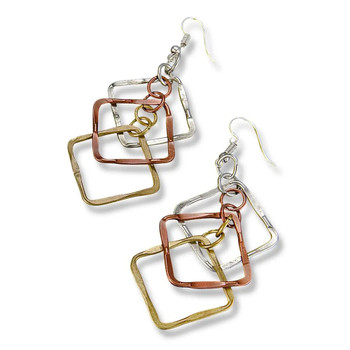 Banjara Hammered Squares Earrings