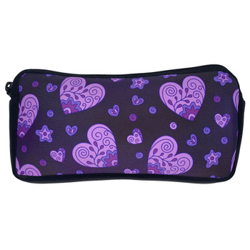 Boho Purple Hearts Zippered Pouch