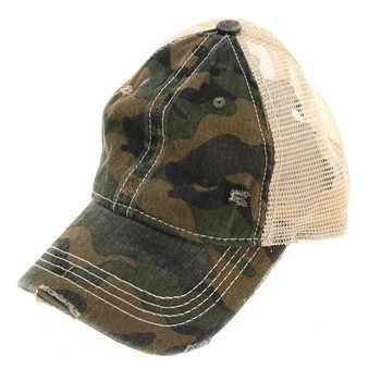 Olive green camouflage mesh baseball cap.