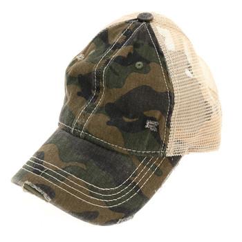 Olive green camouflage mesh baseball cap.