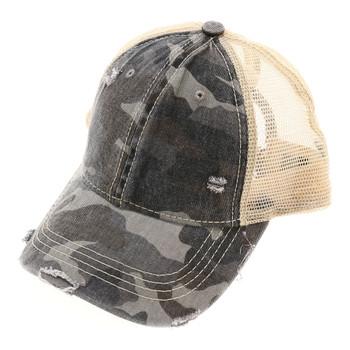 Gray camouflage mesh baseball cap.