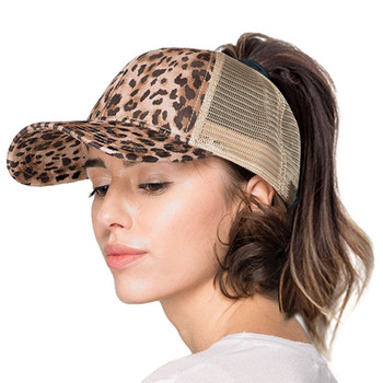 Women's leopard print pony tail baseball cap.