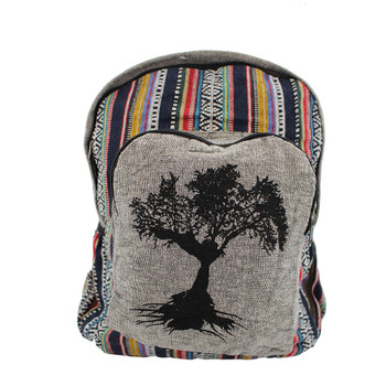 Gray Cotton Tree of Life Backpack with Tribal Woven Design