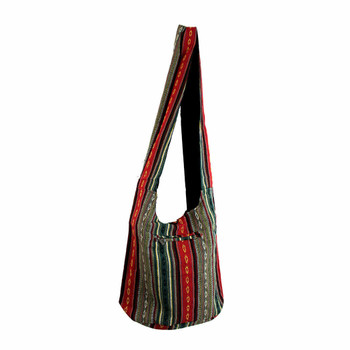 Bohemian Striped Shoulder Sling Bag Purse back view
