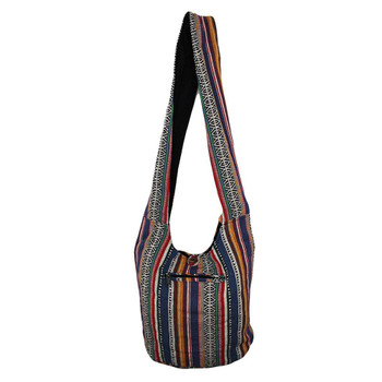Striped Boho Crossbody Sling Bag Purse back view