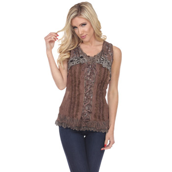 Brown Corset Style Lace Up Tank Top