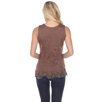 Brown Corset Style Lace Up Tank Top back view