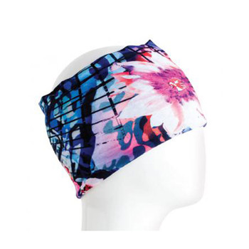 Blue and pink flower headband bandana.