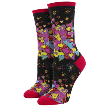 Laurel Burch Dancing Hearts Women's Crew Socks