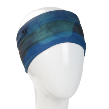 Blue watercolored design headband.