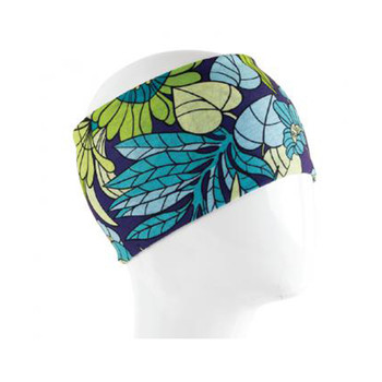 Blue green leaves design headband.