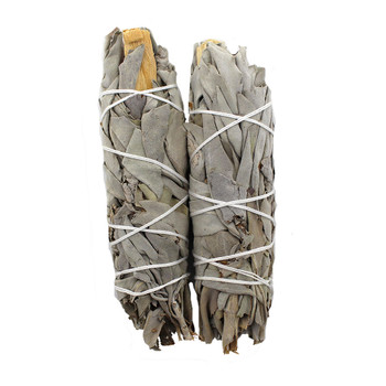White sage with Palo Santo wrapped in middle of wand.