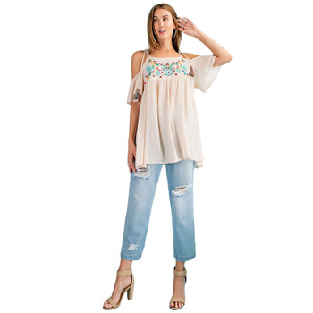 Natural cold shoulder gauze babydoll tunic top full view.