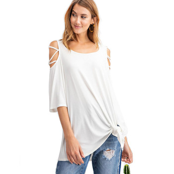 Off white women's casual shirt with laced shoulders.